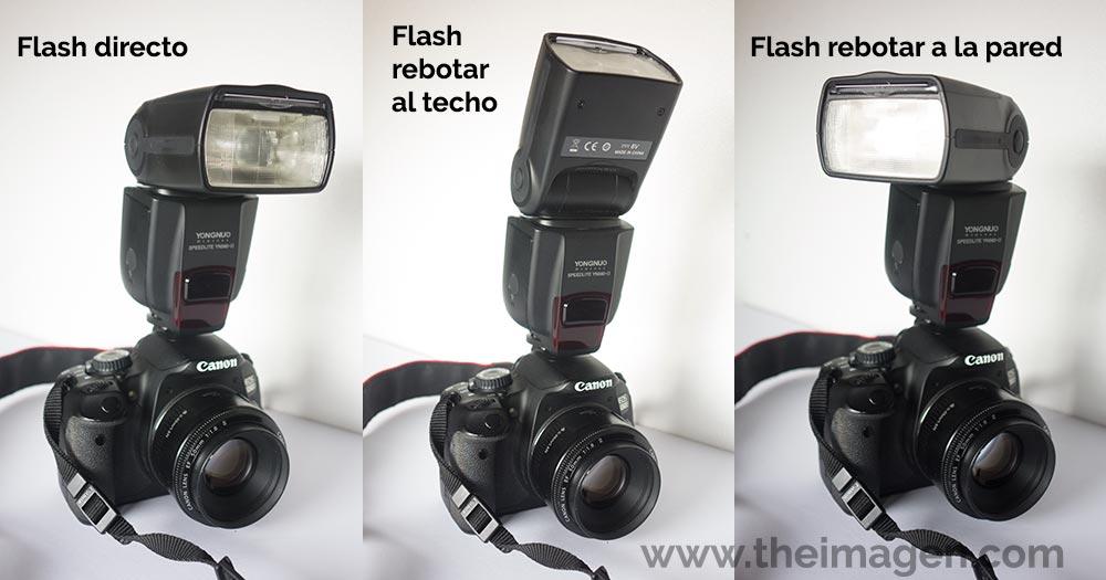 Flash montado sobre la cámara para rebotar