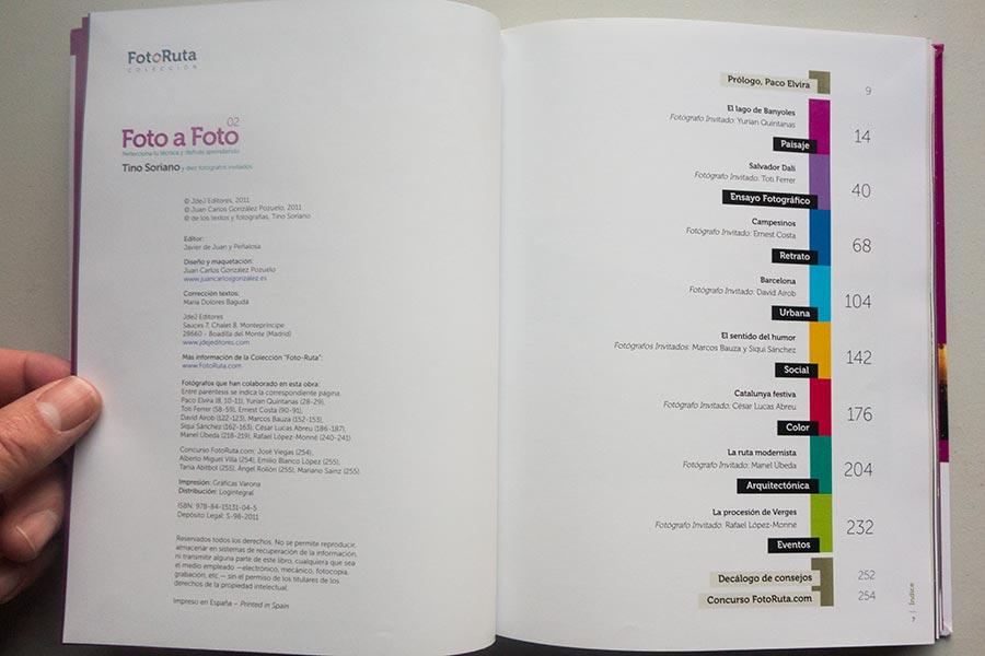 """Índice, libro """"Foto a Foto"""", colección Fotoruta, de Tino Soriano"""