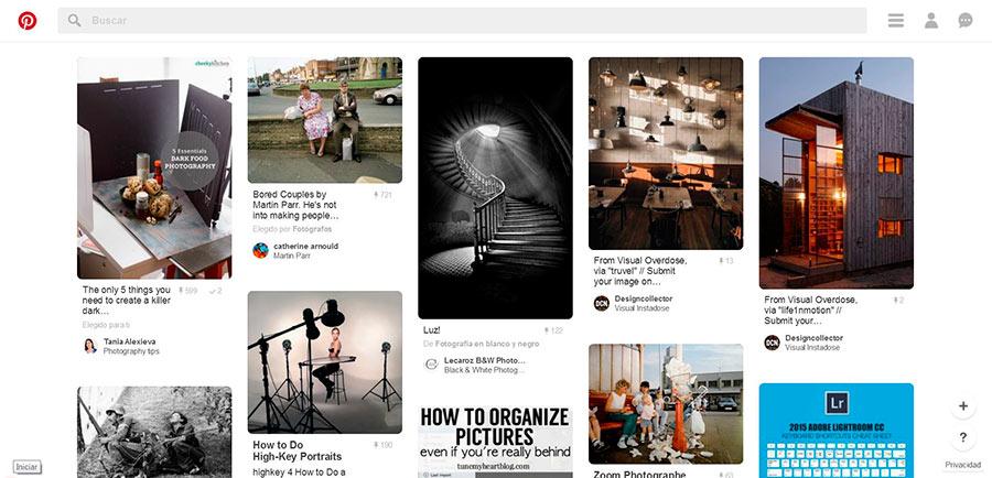 Plataforma inspiracion fotografia: Pinterest