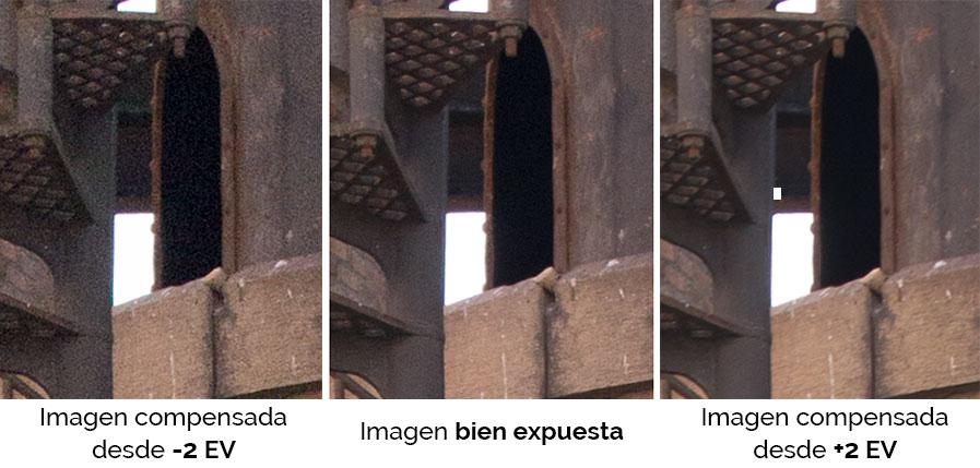 Detalle de las imágenes igualadas en el revelado