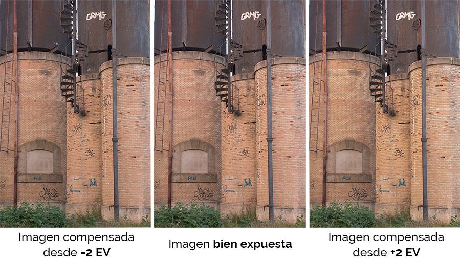 Fotografias capturadas con distinta exposición de captura e igualada la exposición en el revelado