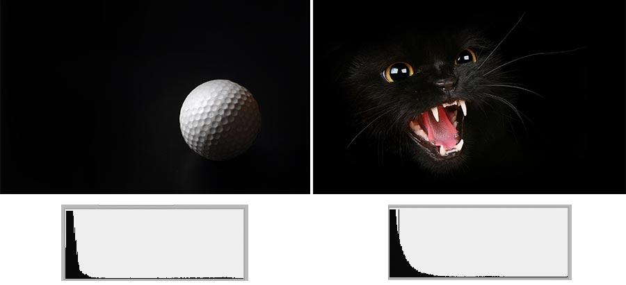 Fotografías muy distintas con histograma parecido