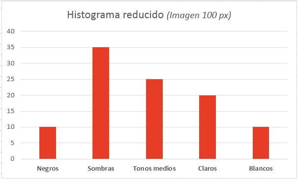 Histograma reducido de una fotografía sencilla