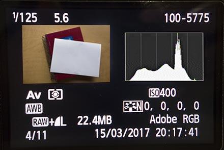 LCD cámara, el histograma muestra que alta algo de luz