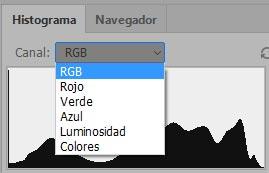 Posibles datos a mostrar en histograma en Photoshop