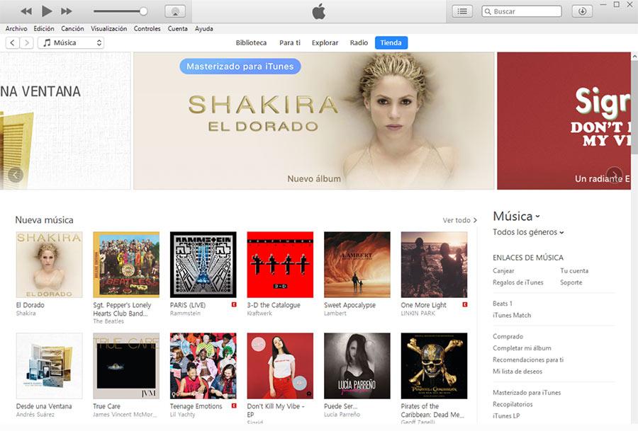 Dejar reseña en iTunes, interfaz general de iTunes