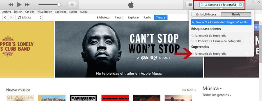 Dejar reseña en iTunes, buscar podcast