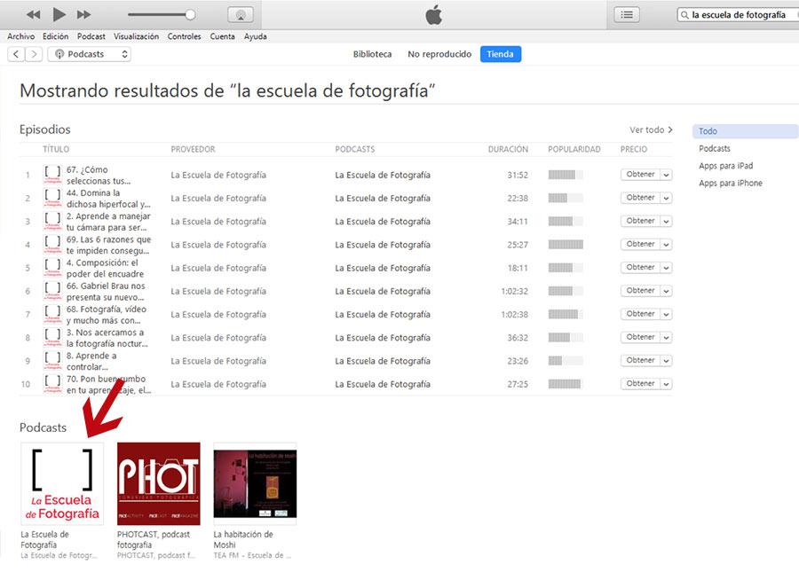 Dejar reseña en iTunes, elegir el podcasts