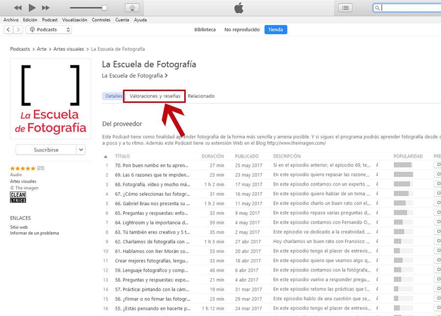 Dejar reseña en iTunes, pestaña de Valoraciones y Reseñas