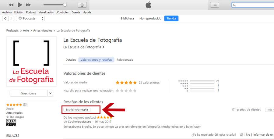 Dejar reseña en iTunes, botón Escribir una reseña
