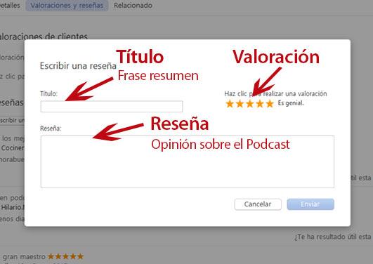 Dejar reseña en iTunes, ventana nueva reseña