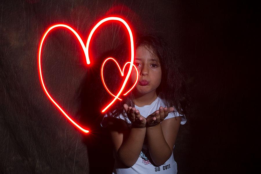 Foto niños divertida, light painting