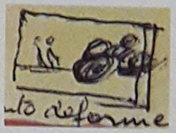 Croquis de Henri Lartigue tras la captura de la toma del vehículo deformado