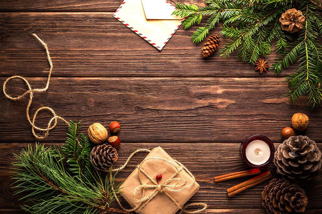 Fotografía de Navidad, ejemplo de bodegón, vista cenital