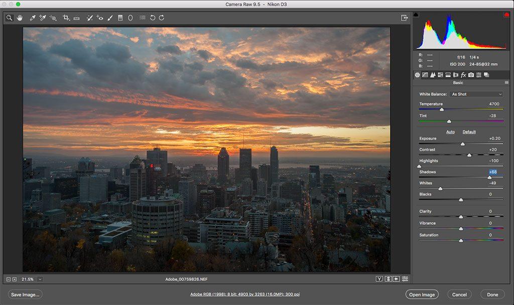 Programa de revelado Adobe Camera Raw