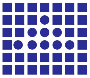 Gestalt principio de similitud, ejemplo formas