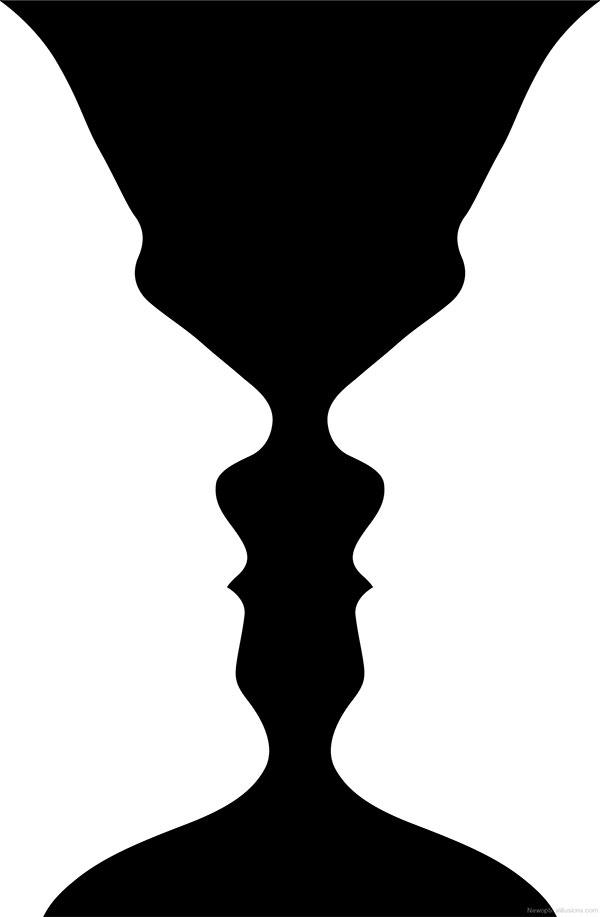 Gestalt principio de figura y fondo, ejemplo con formas