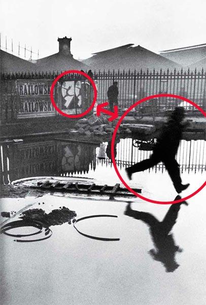 Guiño visual en la foto de Cartier-Bresson: Plaza de Europa. Tras la estación de San Lázaro. París. Francia.