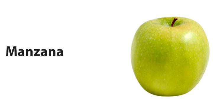 "Texto ""manzana"" e imagen de una manzana"