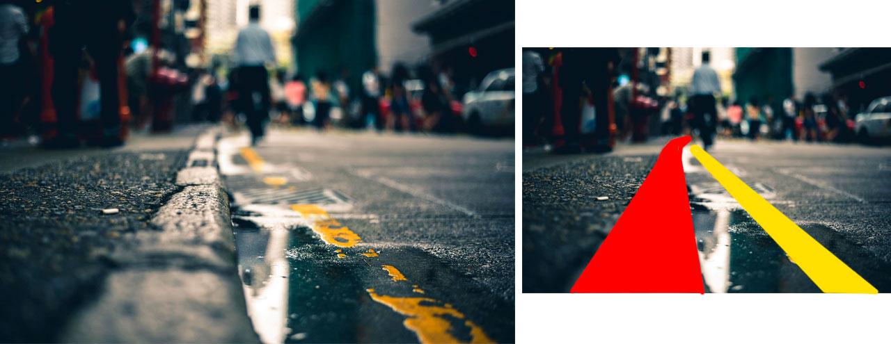 Fotografía acera de una calle, ejemplo de línea gruesa