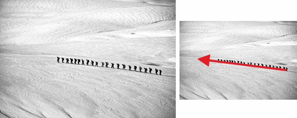 Fotografía alpinistas, conexión de puntos