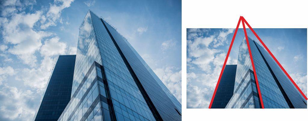 Fotografía de edificio, ejemplo de punto de fuga exterior