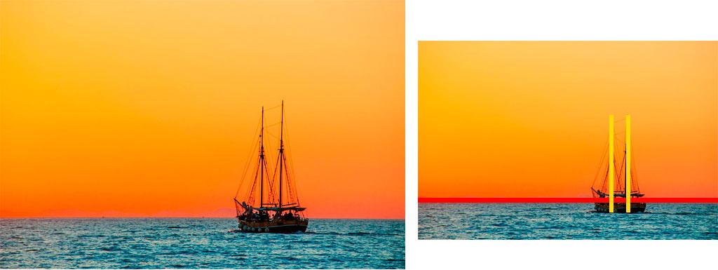 Fotografía barco con varias líneas veticales y una horizontal