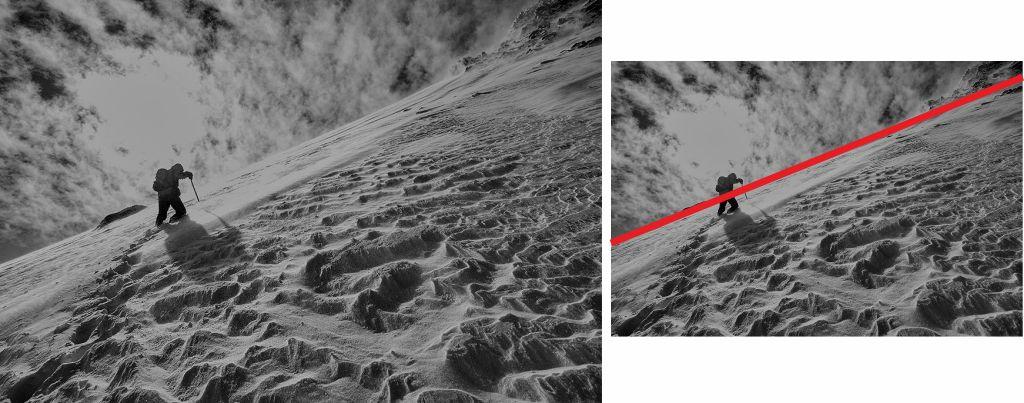 Fotografía montaña y alpinista, ejemplo línea diagonal