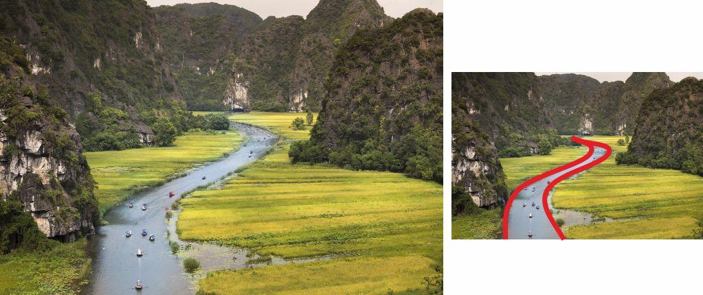 Fotografía de un río, con líneas curvas