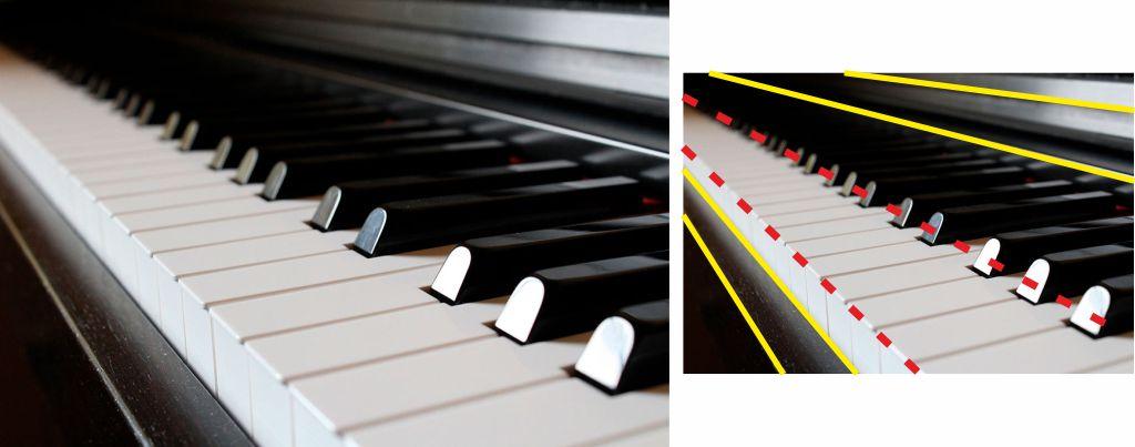 Fotografía teclas piano, ritmo, líneas