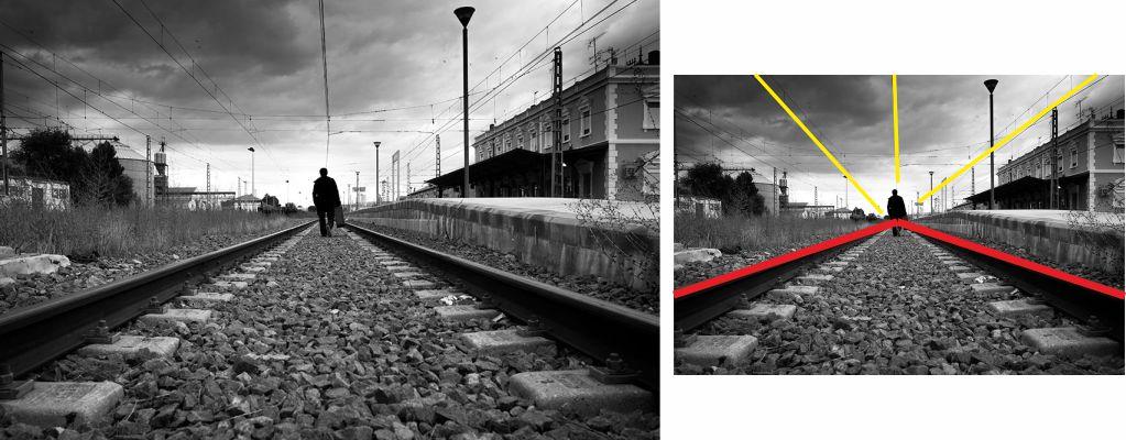 Fotografía vías del tren, ejemplo de punto de fuga interior