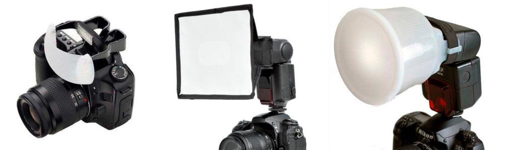 Diferentes difusores flash integrado y externo