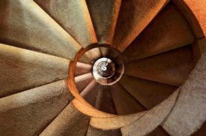 Fotografía escalera, punto de vista cenital