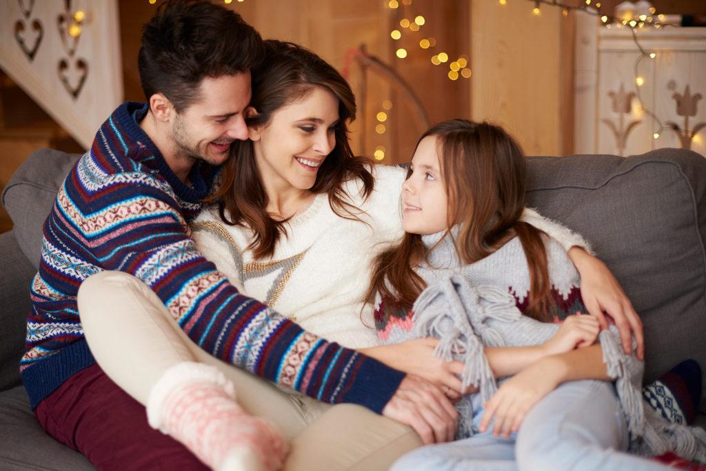 Retrato de familia con luz suave natural
